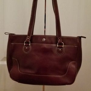 ETIENNE AIGNER leather signature open satchel EUC